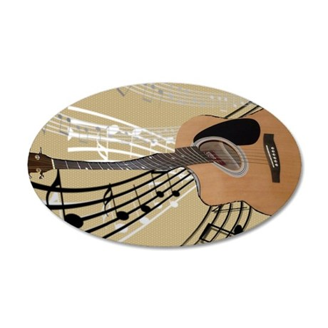 Abstract Guitar 35x21 Oval Wall Decal