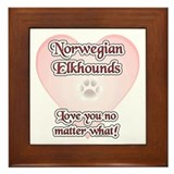 Elkhound Love U Framed Tile