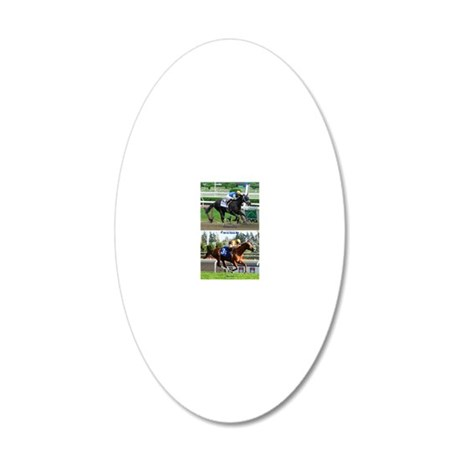 Horse Racing Notebook 20x12 Oval Wall Decal