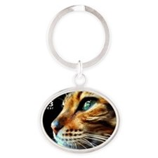 Cover Bengal Cat Close up Oval Keychain