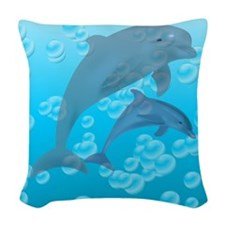 Dolphins Woven Throw Pillow