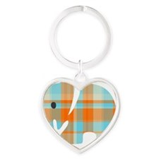 Ella In Plaid1-02 Heart Keychain
