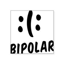 "Bipolar Emoticon Square Sticker 3"" x 3"""