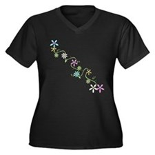 Flowers, Women's Plus Size V-Neck Dark T-Shirt