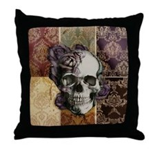 Victorian Skull and Roses Pattern Throw Pillow