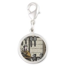 Angry Racoons Silver Round Charm