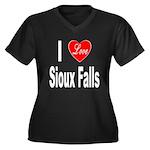 I Love Sioux Falls (Front) Women's Plus Size V-Nec