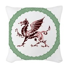 Celtic Knots And Red Dragon Woven Throw Pillow