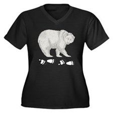 Grizzly and Tracks Women's Plus Size V-Neck Dark T