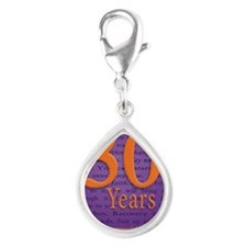 30 Year Recovery Birthday Silver Teardrop Charm