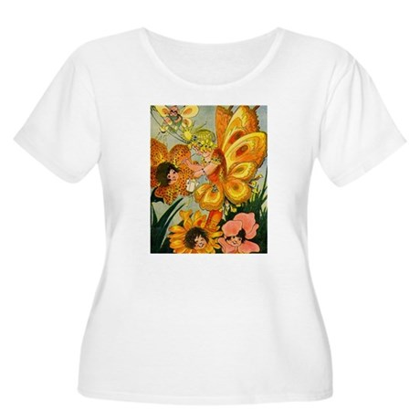 Flower Folk Women's Plus Size Scoop Neck T-Shirt