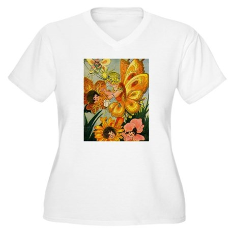 Flower Folk Women's Plus Size V-Neck T-Shirt