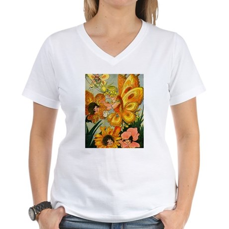 Flower Folk Women's V-Neck T-Shirt