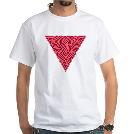Pink Triangle Knot White T-Shirt