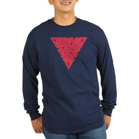 Pink Triangle Knot Long Sleeve Dark T-Shirt