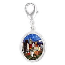 Seattle Skyline Silver Oval Charm