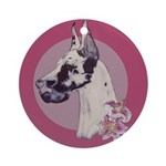 A lovely Harlequin Great Dane Ornament (Round)