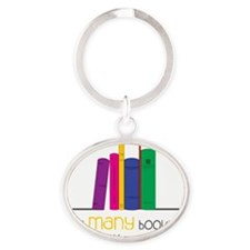 So Many Books Oval Keychain
