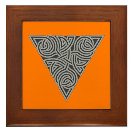 Charcoal Triangle Knot Framed Tile