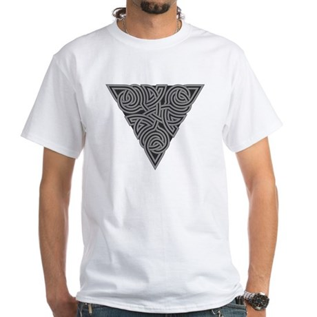 Charcoal Triangle Knot White T-Shirt