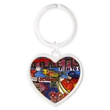 Seattle Fish Market Heart Keychain