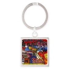 Seattle Fish Market Square Keychain
