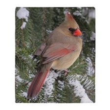 Female Cardinal Throw Blanket