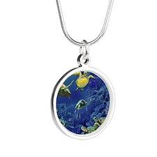 aquarium of sea turtles Silver Round Necklace