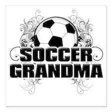 "Soccer Grandma (cross) Square Car Magnet 3"" x 3"""