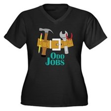 Odd Jobs Women's Plus Size Dark V-Neck T-Shirt