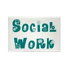 Social Work Floral Rectangle Magnet