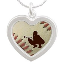 iCatch Baseball Silver Heart Necklace