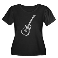 White Guitar Women's Plus Size Scoop Neck Dark Tee