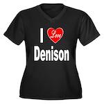 I Love Denison (Front) Women's Plus Size V-Neck Da