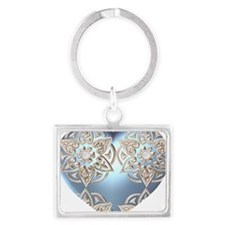 Blue and Sliver Filagree Heart Landscape Keychain