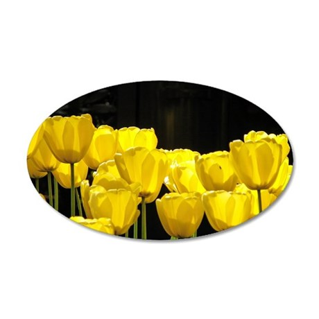 Yellow Tulips 35x21 Oval Wall Decal