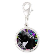 Freckles in Butterflies II Silver Round Charm