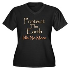 Protect The  Women's Plus Size Dark V-Neck T-Shirt