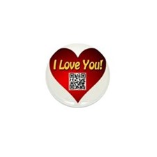 I Love You Heart With Smart Phone App Mini Button