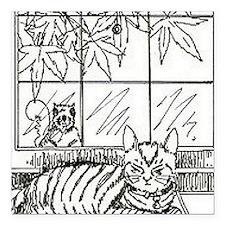 """cat squirrel Square Car Magnet 3"""" x 3"""""""