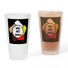 Idle No More - Five Hands (black) Drinking Glass