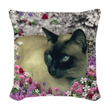 Stella in Flowers I Woven Throw Pillow