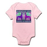 Doberman Love Blue Onesie