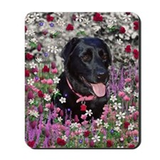 Abby the Black Labrador in Flowers Mousepad