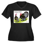 Turkey Day Women's Plus Size V-Neck Dark T-Shirt