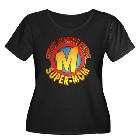 Super Mom Womens Plus Size Scoop Neck Dark T-Shirt