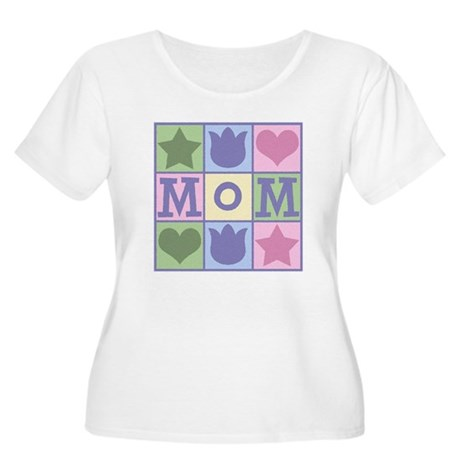 Fun Mom Quilt Squares Women's Plus Size Scoop Neck