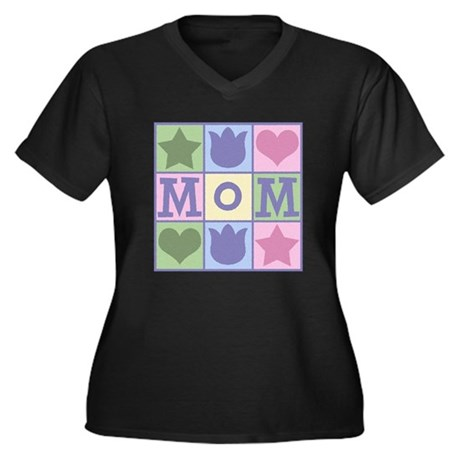 Fun Mom Quilt Squares Plus Size V-Neck Dark Tee