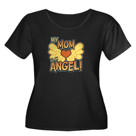 My Mom Angel Women's Plus Size Scoop Neck Dark Tee
