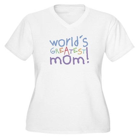 World's Greatest Mom! Women's Plus Size V-Neck Tee